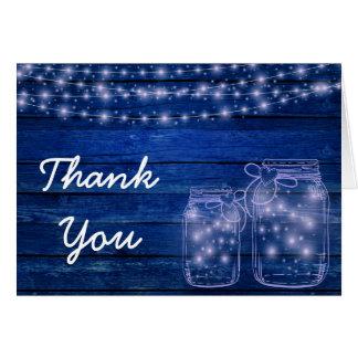 Rustikale Maurer-Glas-Abends-Hochzeit danken Ihnen Karte
