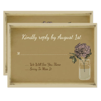 Rustikale Maurer-Glas-Blumen-Rosen-Hochzeit Karte