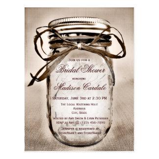 Rustikale Maurer-Glas-Brautparty-Einladung Postkarte