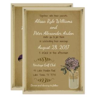 Rustikale Maurer-Glas-Hochzeits-Einladung mit Karte