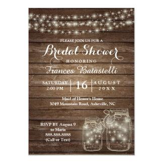Rustikale Maurer-Gläser, die Brautparty Wedding Karte
