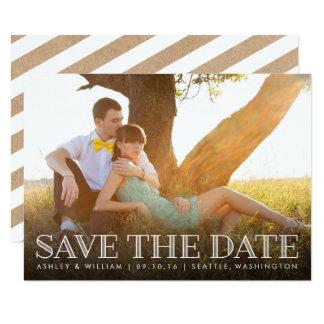 Rustikale Packpapier-Rückseite der Foto-Save the Karte