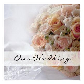 Rustikale Pfirsich-Rosen-weiße Hochzeit Karte