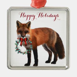 Rustikale quadratische Verzierung Fox Silbernes Ornament