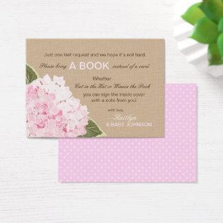Rustikale rosa Hydrangeas lasen eine Buch-Karte Visitenkarte