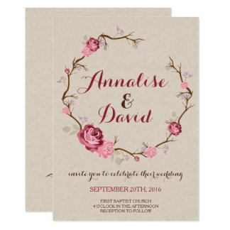 Rustikale Rosen-Hochzeits-Einladung Karte