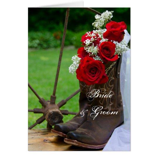 Rustikale Rosen und Cowboystiefel, die Einladung Grußkarte