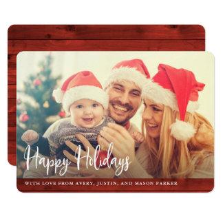 Rustikale rote glückliche Feiertage des Holz-  mit Karte