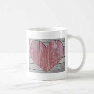 Rustikale rote Herz-Tasse Tasse