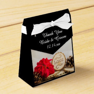 Rustikale rote Poinsettia-Winter-Hochzeit Geschenkkartons