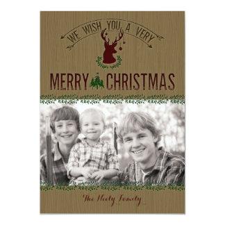 Rustikale Rotwild-Foto-Weihnachtskarte 12,7 X 17,8 Cm Einladungskarte