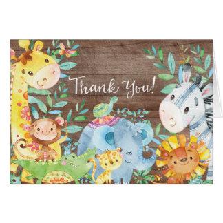 Rustikale Safari-Dschungel-Babyparty danken Ihnen Mitteilungskarte