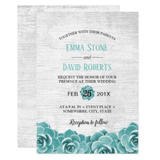 Rustikale saftige Blumenscheunen-hölzerne elegante Karte