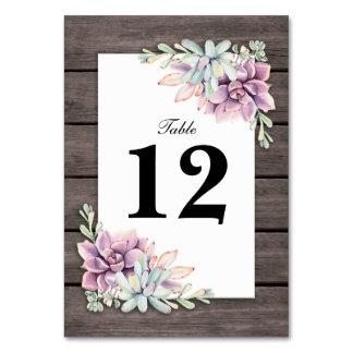 Rustikale saftige Wedding BlumenTischnummern Karte