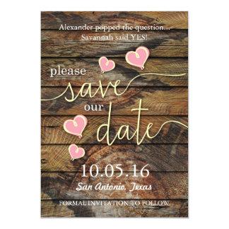 Rustikale Save the Date Karten -- Herzen mit Holz