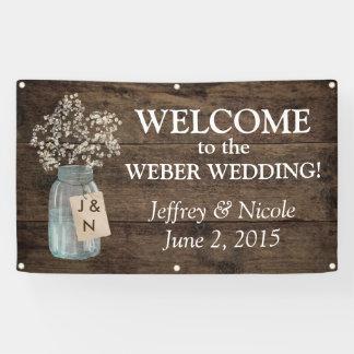 Rustikale Scheunen-Hochzeits-hölzerner Weckglas Banner