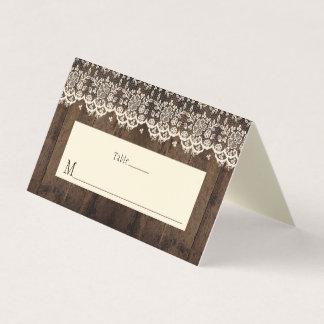 Rustikale Scheunen-Holz-und Spitze-Platzkarten Platzkarte
