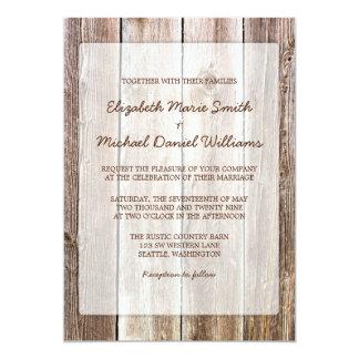Rustikale Scheunen-hölzerne Hochzeits-Einladungen 12,7 X 17,8 Cm Einladungskarte
