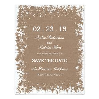 Rustikale Schneeflocke-Winter-Save the Date Karten 10,8 X 14 Cm Einladungskarte