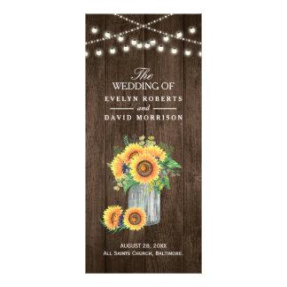 Rustikale Schnur beleuchtet die Sonnenblumen, die Werbekarte