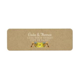 Rustikale Sonnenblume-Adressen-Etiketten