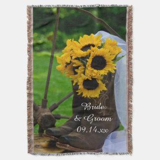 Rustikale Sonnenblume-Cowboystiefel-Land-Hochzeit Decke