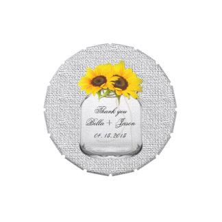 Rustikale Sonnenblume-Gastgeschenke Hochzeit Vorratsdose