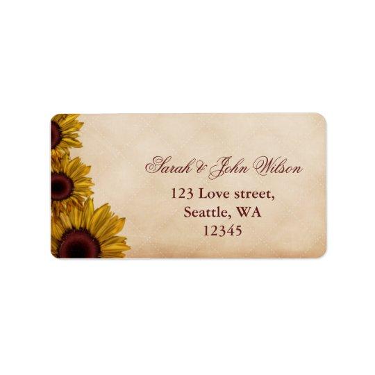Rustikale Sonnenblume-Hochzeit Adressaufkleber