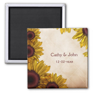Rustikale Sonnenblume-Hochzeit Quadratischer Magnet