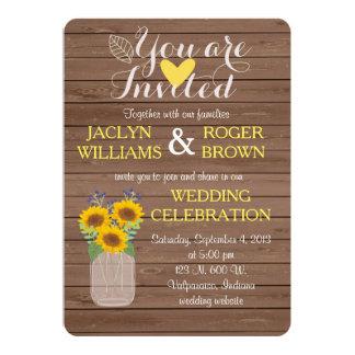 Rustikale Sonnenblume-Hochzeits-Einladung 12,7 X 17,8 Cm Einladungskarte