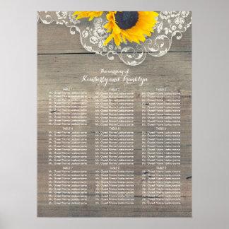 Rustikale Sonnenblume-hölzernes Poster