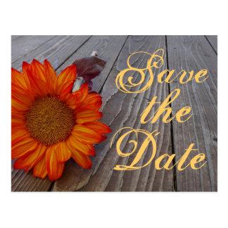 Rustikale Sonnenblume Save the Date, die Postkarte