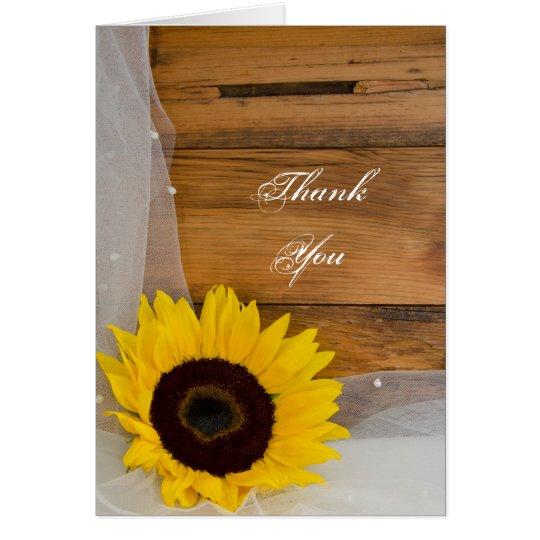 Rustikale Sonnenblume-Schleier-Land-Brautjungfer Mitteilungskarte