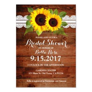 Rustikale Sonnenblume-Spitze-hölzernes Brautparty 11,4 X 15,9 Cm Einladungskarte