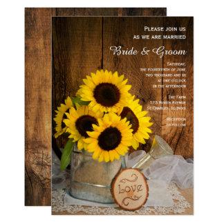 Rustikale Sonnenblume-und 12,7 X 17,8 Cm Einladungskarte