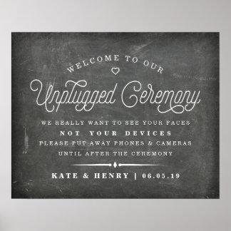Rustikale Tafel getrenntes Zeremonie-Plakat 2 Poster