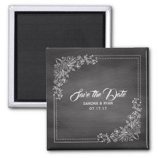 Rustikale Tafel-Save the Date Winter-Hochzeit Quadratischer Magnet