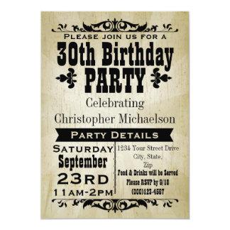 Rustikale Vintage 30. Geburtstags-Party Einladung