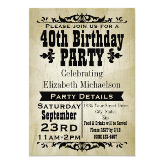 Rustikale Vintage 40. Geburtstags-Party Einladung 12,7 X 17,8 Cm Einladungskarte