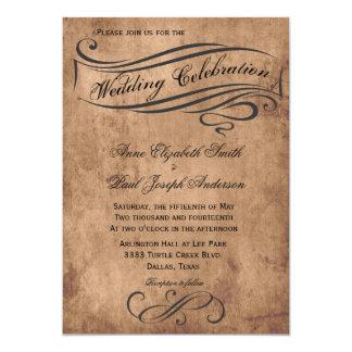 Rustikale Vintage Hochzeits-Einladung 12,7 X 17,8 Cm Einladungskarte