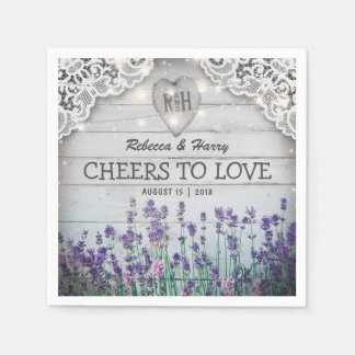 Rustikale Vintage Lavendel-Hochzeit Papierservietten