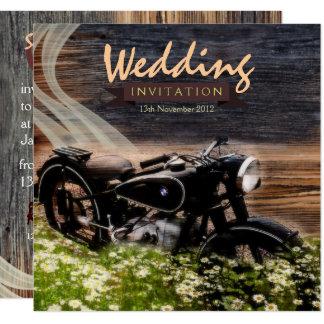 Rustikale Vintage Motorrad-Hochzeits-Einladungen Quadratische 13,3 Cm Einladungskarte