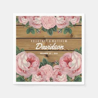 Rustikale Vintage rosa Rosen-Hochzeit Papierserviette