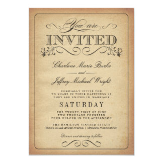 Rustikale Vintage Typografie-Hochzeits-Einladungen 12,7 X 17,8 Cm Einladungskarte