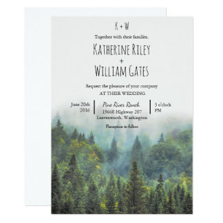 Rustikale Waldhochzeits-Einladung Karte