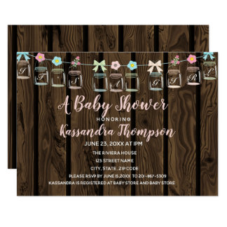 Rustikale Weckglas-Baby-Duschen-Einladung Karte