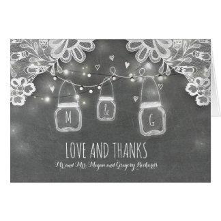 Rustikale Weckglas-Lichter und Spitze-Hochzeit Karte