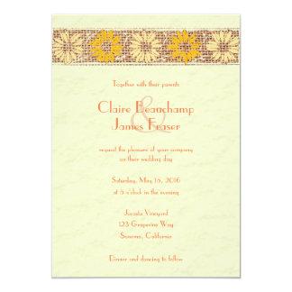 Rustikale Wedding Jutefaser-Blumen 12,7 X 17,8 Cm Einladungskarte