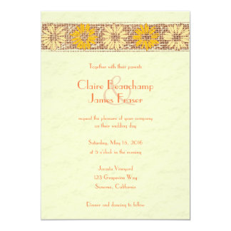 Rustikale Wedding Jutefaser-Blumen Karte