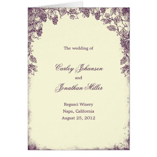 Rustikale Weinberg-Hochzeits-Programm-Karte - lila Grußkarte